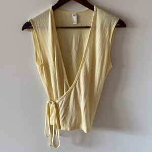 Creamy yellow ribbed wrap top by American Apparel